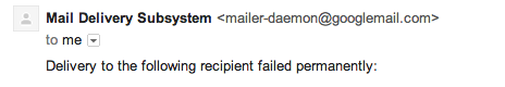 Email undeliverable
